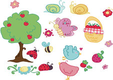 Happy pic nic set elements!. Happy pic pic elements set isolated on white background. Funny insects, birds fruits and apple tree Vector illustration Royalty Free Stock Photo