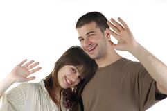 Happy picture. He there, we are happy couple Stock Images