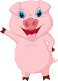 Happy pig cartoon presenting Royalty Free Stock Photo