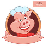 Happy Pig Chef Head Cartoon Vector Illustration. Logo On A White Background
