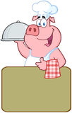 Happy Pig Chef Over A Blank Sign Royalty Free Stock Image