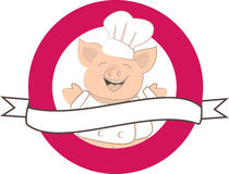 Happy pig. Cute pig cook laughing label Stock Photography