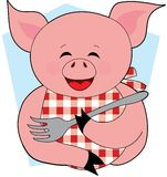 Happy Pig Eating. A Happy Pig holding a Fork with a Bib Royalty Free Stock Images
