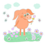 Happy pig with a flower in a hand. Cute cartoon pig sticker. Happy piglet with a flower in a hand. Pig sticker in cartoon style. Piggy on white background with Stock Images
