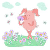 Happy pig with a flower in a hand. Cute cartoon pig sticker. Happy piglet with a flower in a hand. Pig sticker in cartoon style. Piggy on white background with Royalty Free Stock Photo