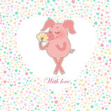 Happy pig with a flower in a hand. Cute cartoon pig sticker. Happy piglet with a flower in a hand. Vector funny illustration for Valentine`s Day, wedding design Royalty Free Stock Image