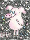 Happy pig with a flower in a hand. Cute piggy in cartoon style on white backgraund with hearts. Word love is hand drawn Stock Photos
