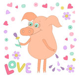 Happy pig with a flower in a hand. Cute piggy in cartoon style on white Stock Images