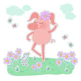 Happy pig with a flower on her head. Cute cartoon pig sticker. Happy pig with a flower on her head. Pig sticker in cartoon style. Piggy on white background with Royalty Free Stock Photography