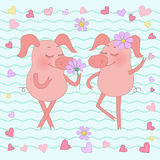 Happy pig with a flower on her head. Cute cartoon pig sticker. Two happy piglets with a flower on head. Pig sticker in cartoon style. Piggy on background from Royalty Free Stock Photo