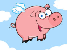 Happy pig flying in a sky. Cartoon character Royalty Free Stock Photo