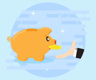 Happy pig piggy bank brings the gold coin. Businessman's hand catches the coins. Investments give a profit, wealth Royalty Free Stock Photography