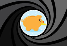 Happy Pig piggy bank with coin at gunpoint. Risky investments. Stock Images