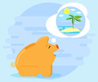 Happy pig piggy bank dreaming about summer vacation. Investments and cash flows allow dream vacation. Flat style Stock Photo