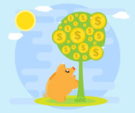 Happy pig piggy bank is facing a money tree as a symbol of wealth.  Royalty Free Stock Photography
