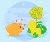 Happy pig piggy bank is facing the symbols of wealth. Creating wealth through investment and cash flow. Flat style Royalty Free Stock Photo