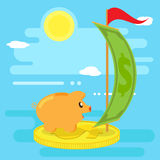 Happy pig piggy bank floats on a raft from a coin by sea of financial opportunities. Flat style, vector. Happy pig piggy bank floats on a raft from a coin by sea Royalty Free Stock Photo