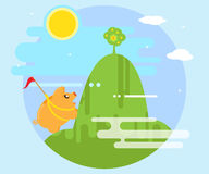 Happy pig piggy bank overcomes difficulties in order to conquer the mountain on which grows a money tree. Flat style Royalty Free Stock Images