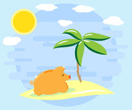 Happy pig piggy bank resting on the island. Successful investments and cash flows bring recreation Royalty Free Stock Photography