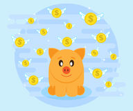 Happy pig piggy bank sits surrounded by flying coins. Investments give a profit, wealth. Flat style Royalty Free Stock Photo