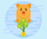Happy pig piggy bank sits and watches as a growing money tree. Investments. Creating a cash flow for profit and wealth Royalty Free Stock Photos