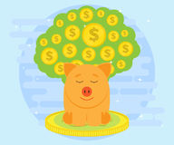 Happy pig piggy bank sitting on coins and meditates on a background of big money tree. Money likes peace and quiet Stock Images