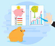 Happy pig piggy bank sitting in front of educational posters. Royalty Free Stock Photos