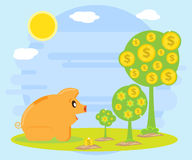 Happy pig piggy bank is sitting and watching stages of growth of a monetary tree. Creating a cash flow for profit Royalty Free Stock Images