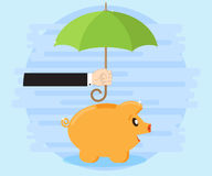 Happy pig piggy bank standing under an umbrella that holds the hand of a businessman. Protection of savings Royalty Free Stock Photography