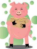 Happy Piggy. Vector illustration of a successful piggy Stock Photography