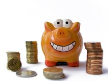 Happy piggy bank Stock Image