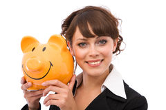 Happy with piggy bank Stock Images
