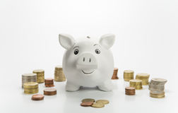 Happy piggy bank Stock Photography
