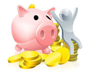 Happy piggy bank man Stock Images
