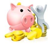 Happy piggy bank man Stock Images