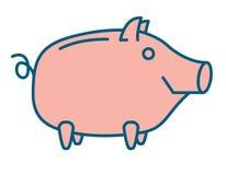 Happy Piggy bank or money box. Symbol. Thin line linear vector illustration Stock Photos
