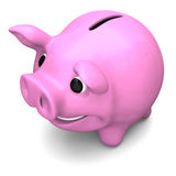 Happy piggy bank. Happy pink piggy bank, concept of savings and investments, isolated on white background Stock Photo