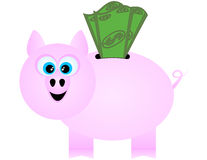 A Happy Piggy Bank Receiving Dollar Bills Stock Photos