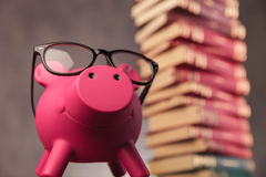 Happy piggy bank wearing glasses looks up near books Royalty Free Stock Images