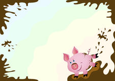 Happy piggy postcard background. Vector illustration of fun cartoon piglet background Royalty Free Stock Photos