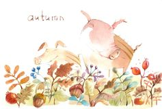 Happy piglets on an autumn forest clearing stock illustration