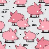 Happy pigs, colorful seamless pattern stock illustration