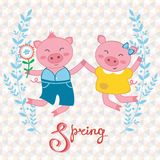 Happy pigs couple jumping. Illustration of happy pigs couple jumping Royalty Free Stock Images