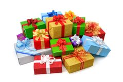 Happy pile of colorful gift boxes Stock Images