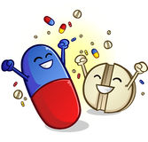 Happy Pills Cartoon Characters Royalty Free Stock Images