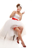 Happy pin-up bride Stock Images