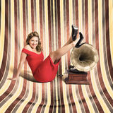 Happy pin up lady. Retro music and entertainment Royalty Free Stock Photography