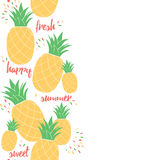 Happy pineapple poster template for summer background design or greeting card. Royalty Free Stock Image
