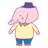 Happy Pink Elephant Man. Wearing Yellow Shirt, Blue Pants and Hat Royalty Free Stock Photography
