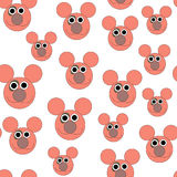 Happy pink mouse head seamless pattern Royalty Free Stock Photography